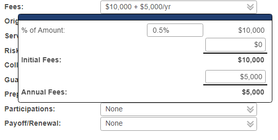 Fees field popup