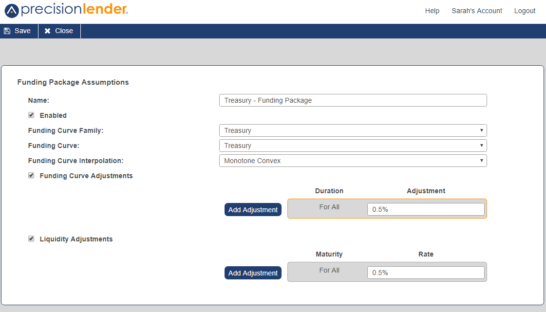The Funding Package Assumptions screen, shown here, lets you set up the specific funding package that you've created or are editing
