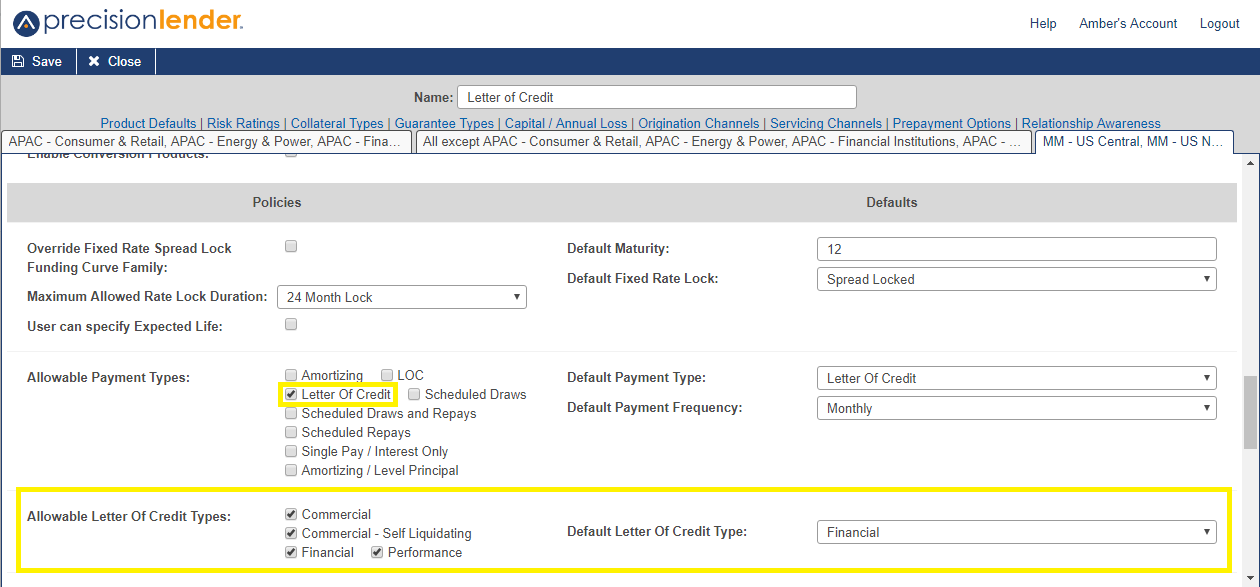 Shows the allowable letter of credit types and the default letter of credit type in the product edit screen