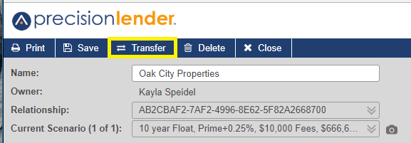 transfer button on top menu bar