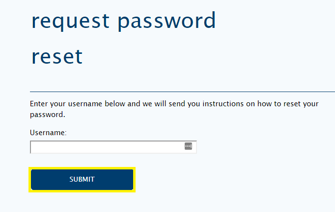 Shows where to click submit after entering your username to reset your password