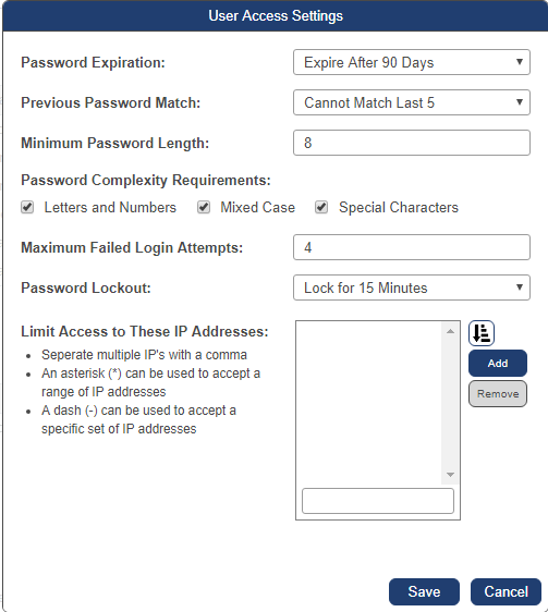 The user access setting menu allows you to set password and IP address requirments