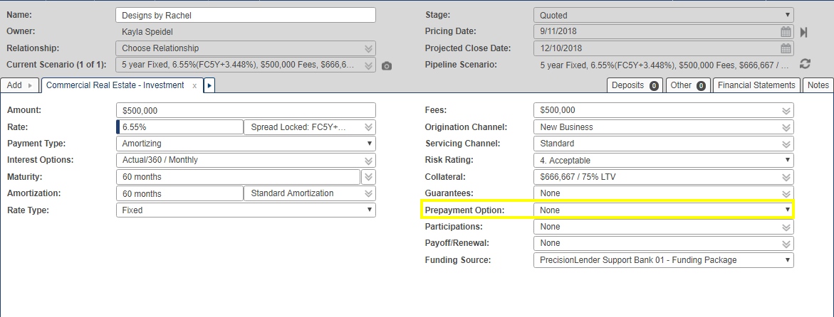 Prepayment field in opportunity pricing screen