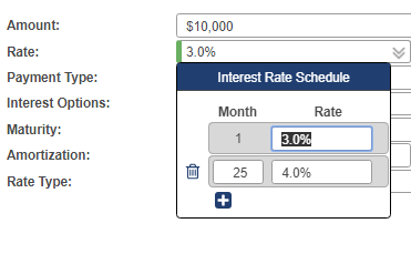 Interest Spread Schedule popup allows you to enter your eschedule