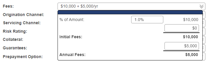 Shows the fees popup on the opportunity screen