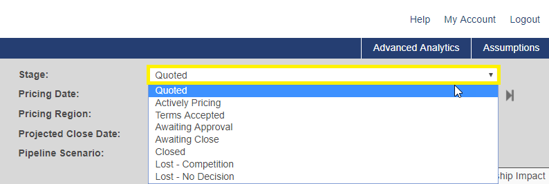 Shows the opportunity stage field and available dropdown options