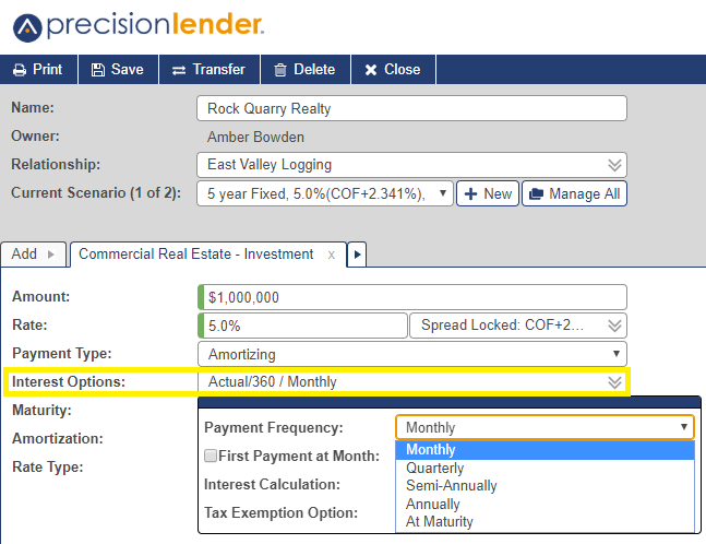Shows the Interest Options field and how selecting that opens a popup with a field to select payment frequency