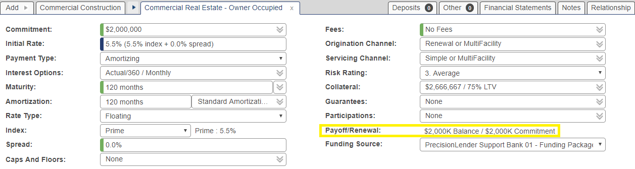 Shows the payoff and renewal field for a conversion loan