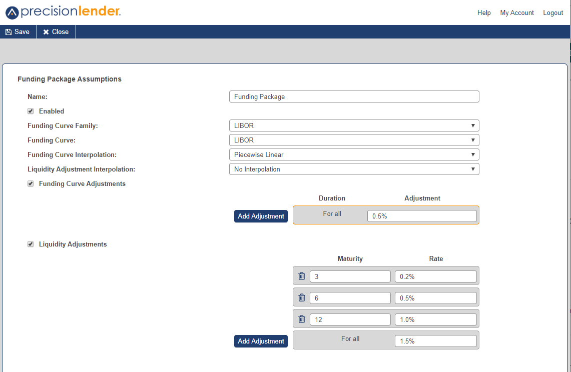 funding package setup screen