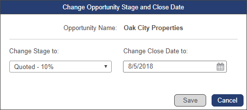 Opportunity name: Oak City Property with 'Change Stage To' field in Quoted 10% and 'Change Close Date to' in August 5th 2018