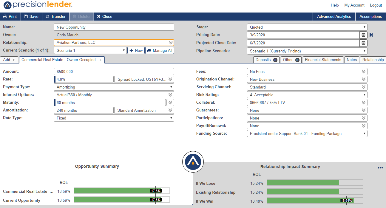 PrecisionLender Opportunity Screen showing the toolbar, the header, the tabs, the opportunity details and the footer
