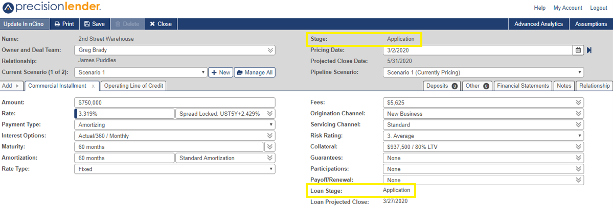 precisionlender opportunity screen with stage and loan stage status in application