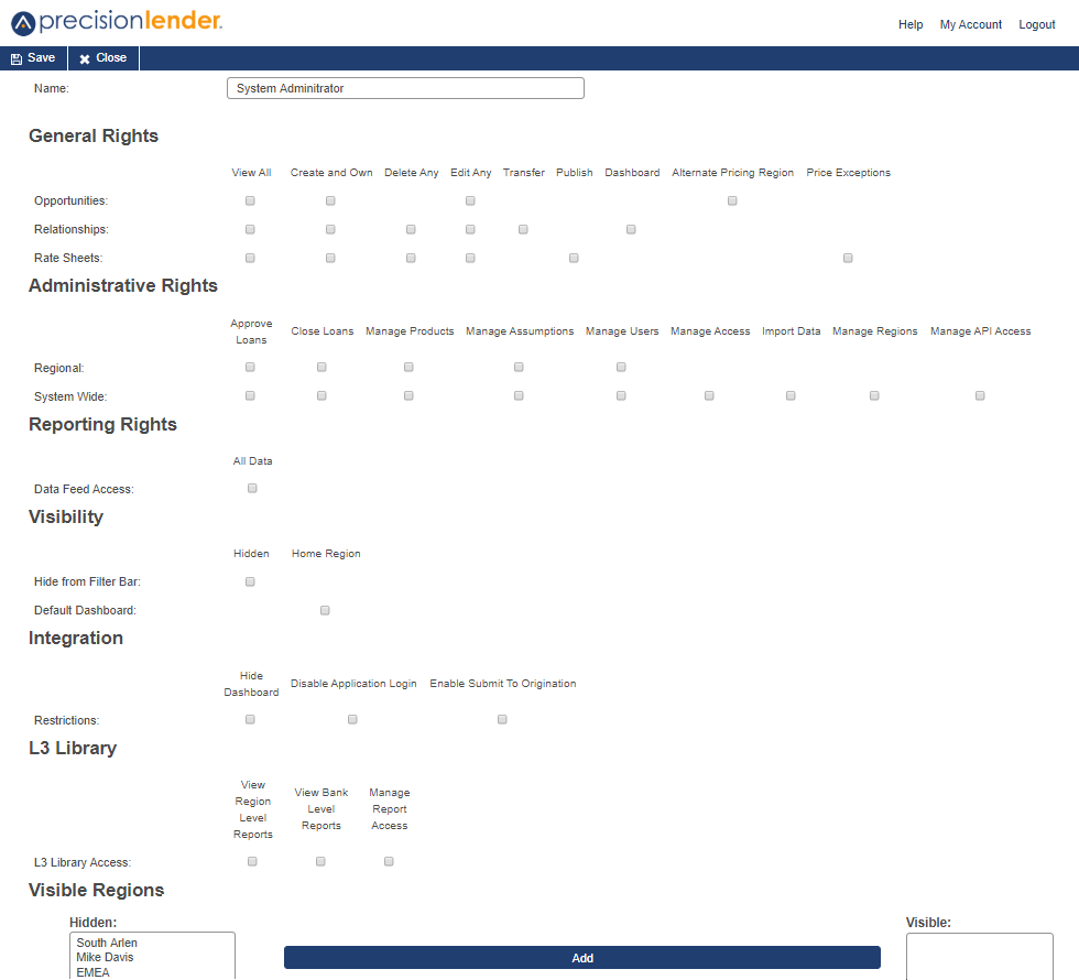 Profile editing page showing checkboxes options for general rights, administrative rights, reporting rights, visibility, integration, L3 library and visible regions