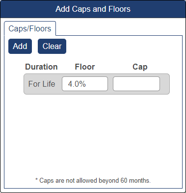 Shows caps and floors pop-up window with floor at 4%