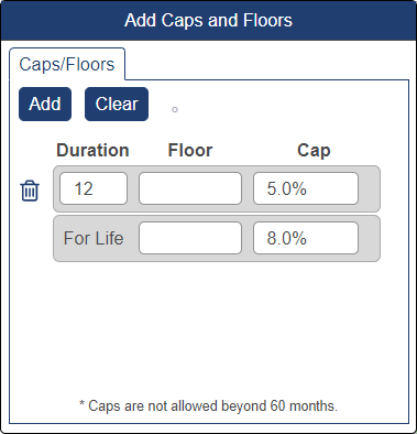 Shows caps and floors pop-up window with cap at 5% for 12 months and at 8% onwards