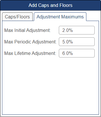 Shows caps and floors pop-up window with adjustment maximums fields