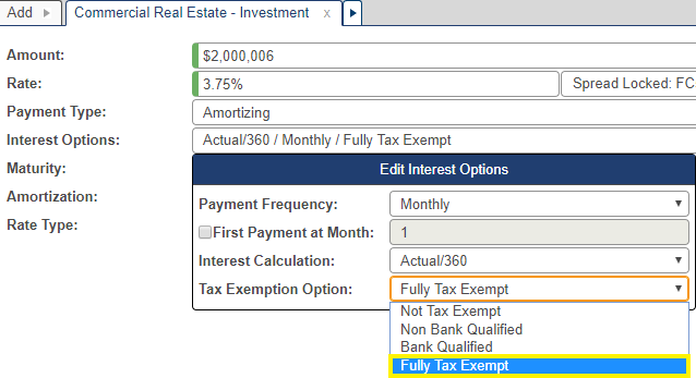 Shows interest option pop-up window with fully tax exempt option selected