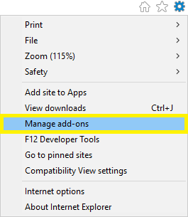 Shows the Manage add-ons menu in Internet Explorer