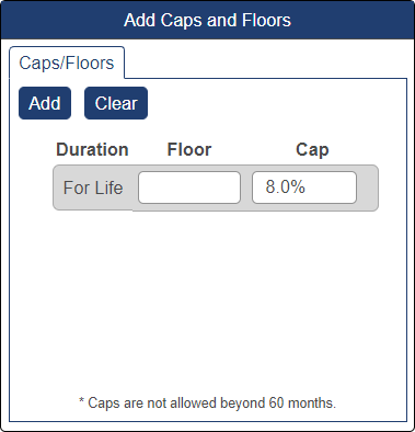 Shows caps and floors pop-up window with cap at 8%