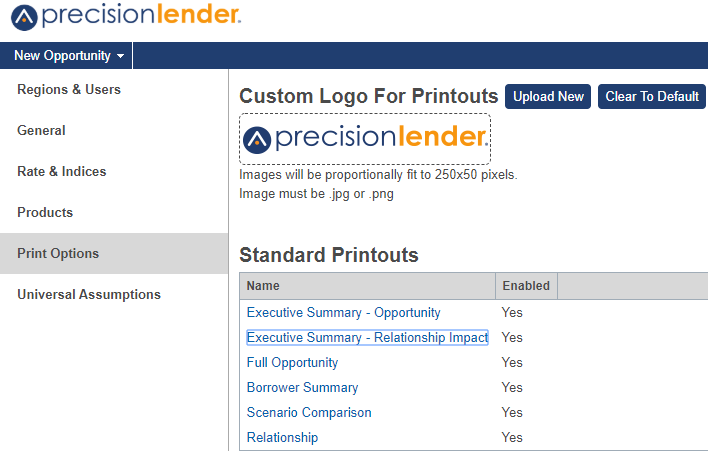 Shows Print Options section with option to enable or disable the printouts