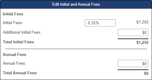 Shows Initial and Annual fees pop-up window