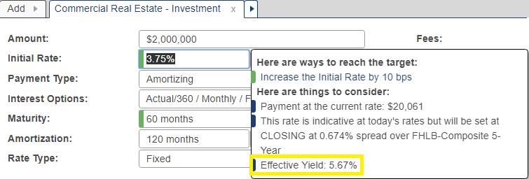 Shows Andi suggestion box when initial rate field is selected