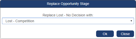 shows replace opportunity stage pop-up window