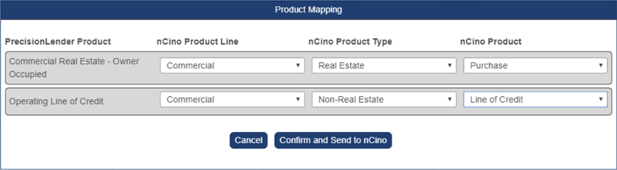 Shows a pop-up window for product mapping