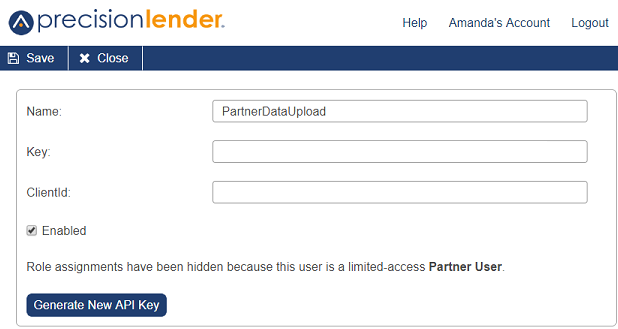 Shows Add New Partner Service User page with options for name, key, and clientID