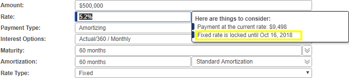 Shows the notification pop-up window when rate field is selected