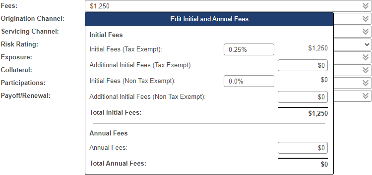 Shows Initial and Annual Fees pop-up window with fields for initial fees and annual fees