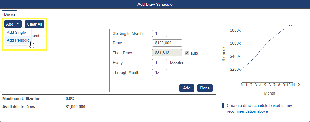 Shows Add periodic draw option in the Draw Schedule pop-up window