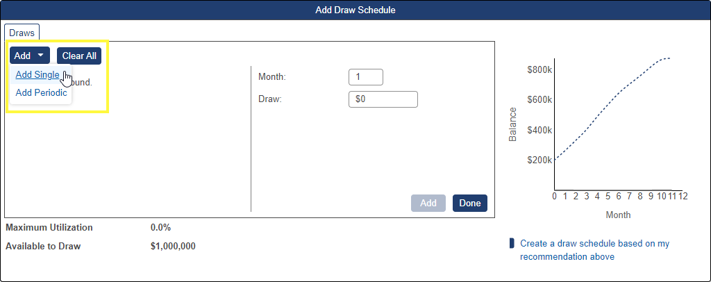 Shows Add single draw option in the Draw Schedule pop-up window