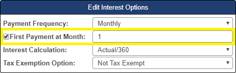 Shows the checkbox for First Payment at Month in the interest options pop-up window