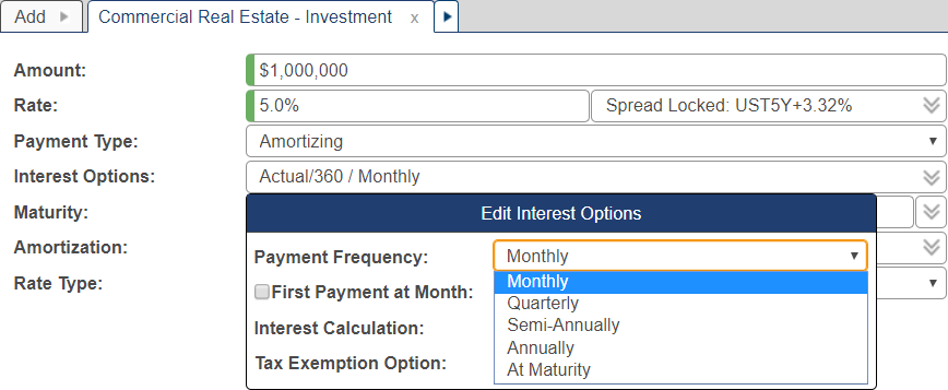 Shows the payment frequency in the interest options pop-up window