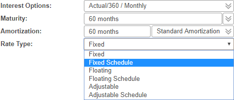 Shows the drop-down menu when rate type is selected. Options for fixed, floating or adjustable