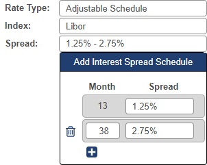 Shows Interest Spread Schedule drop-down menu when spread field is selected