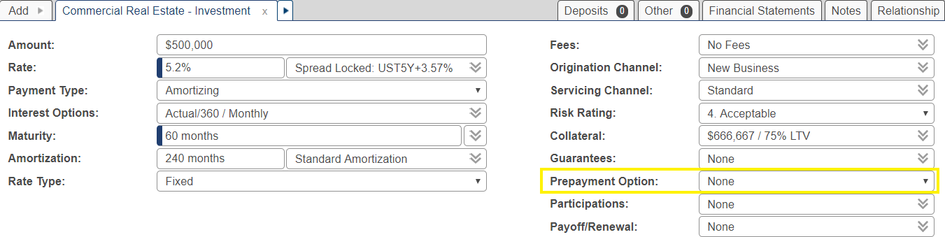 Shows the prepayment field in the opportunity screen