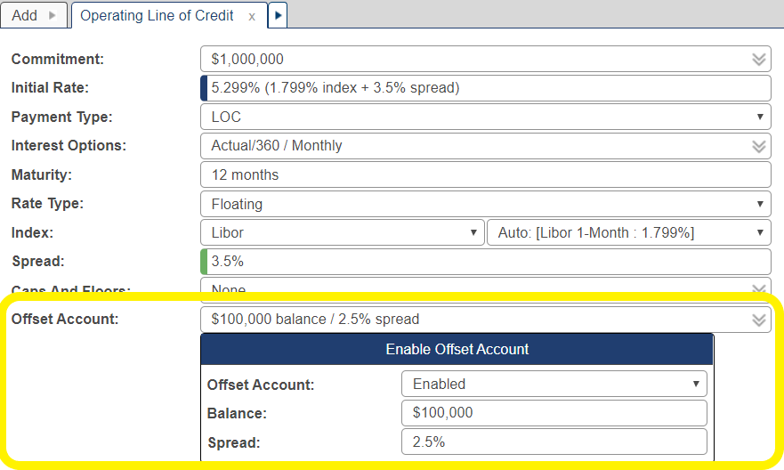 Shows the offset account pop-up window when its field is selected