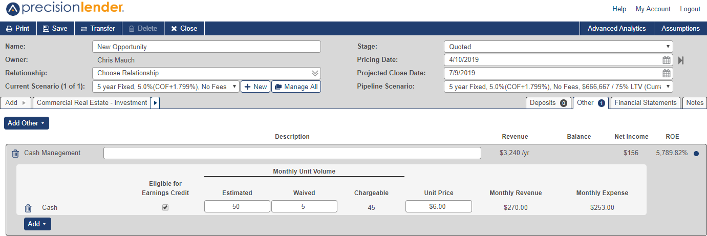 Shows Other tab in the opportunity screen. Cash Management product is selected with the following options