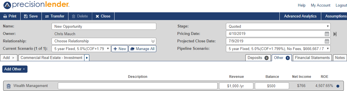 Shows Wealth Management product with the following options