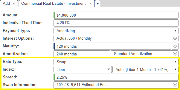 Shows the Swap Information field when Swap is selected as the rate type