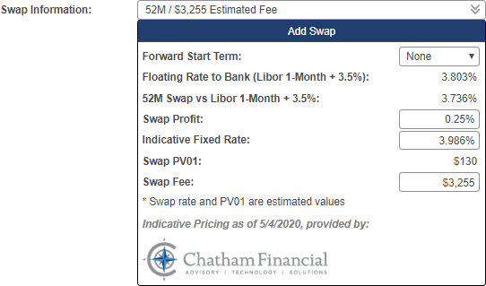Shows the swap information pop-up window with the following fields: