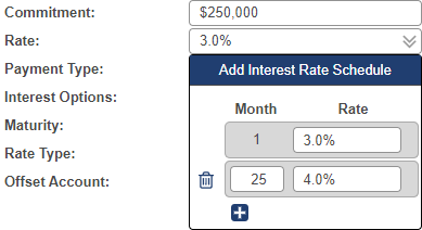 Shows Interest Rate Schedule drop-down menu when rate field is selected