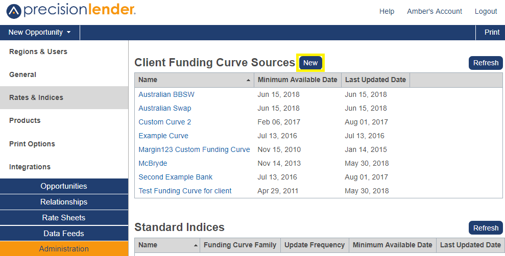 Shows the option to add a new Client Funding Cure Sources in Administration