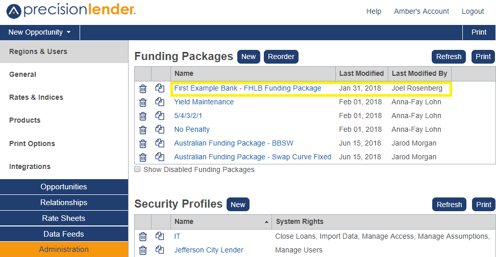Shows the Funding Packages list in Region and Users section