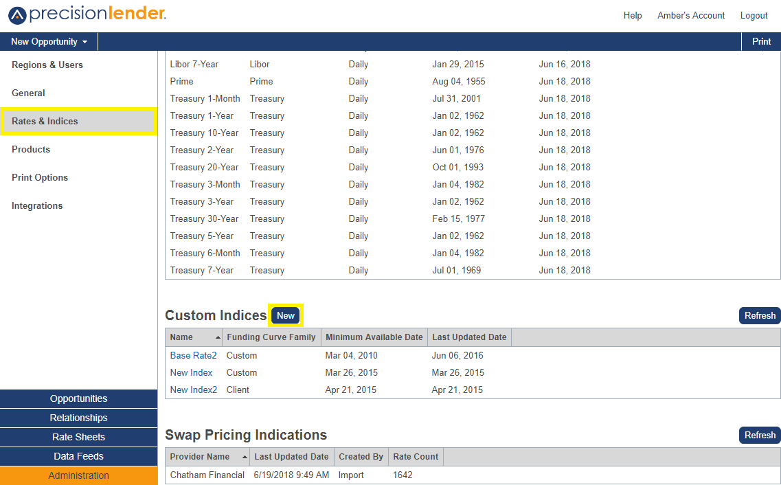 Shows the option to add a new custom indices in Rates and Indices section
