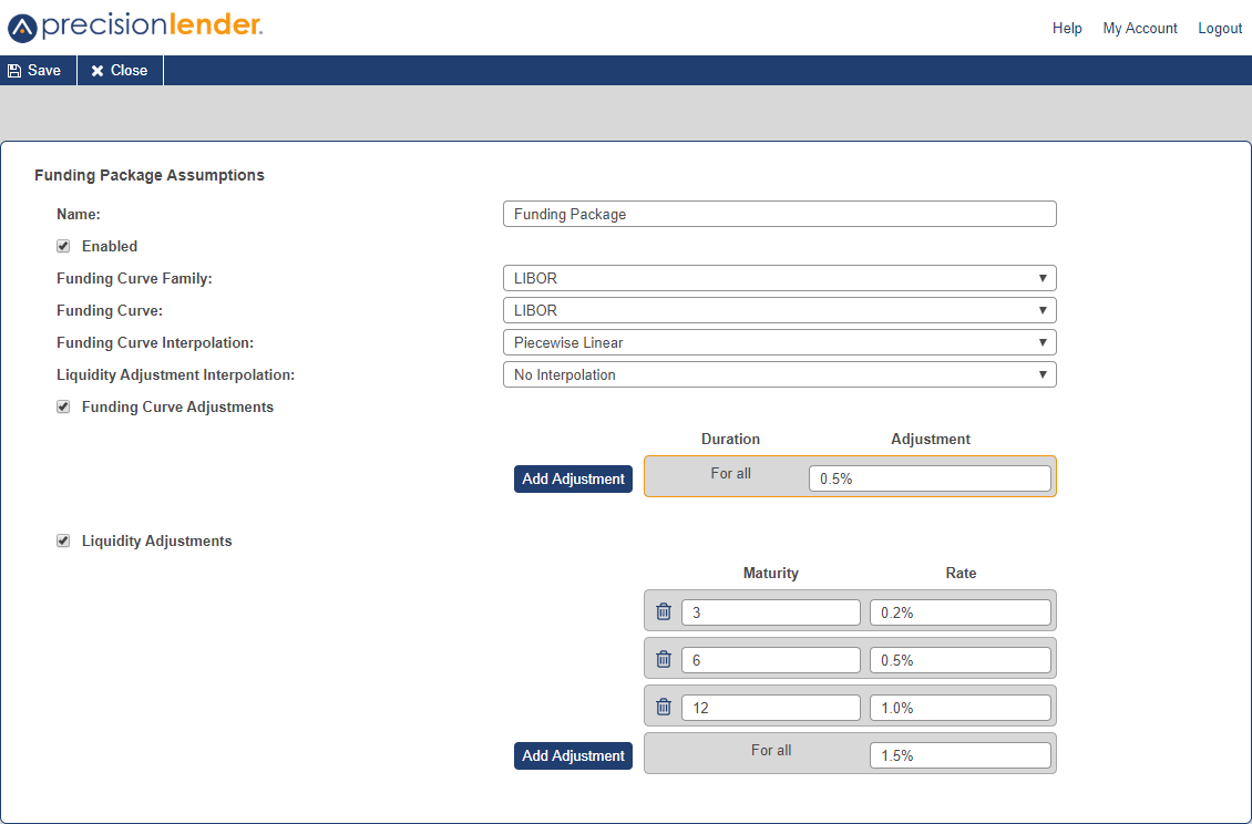 Shows the funding package setup screen