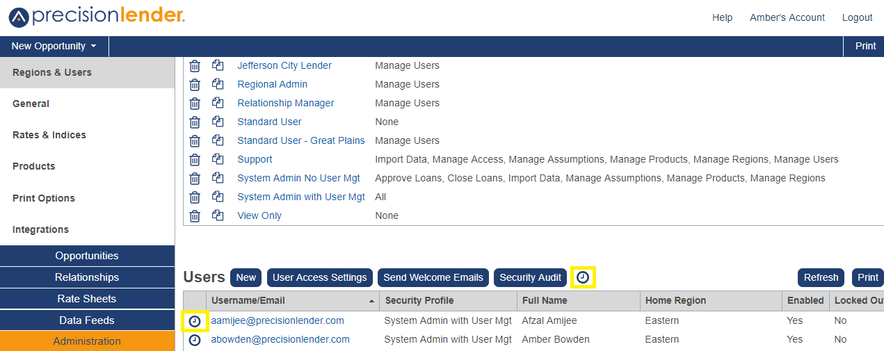 Shows the clock icon in the Users section in Administration