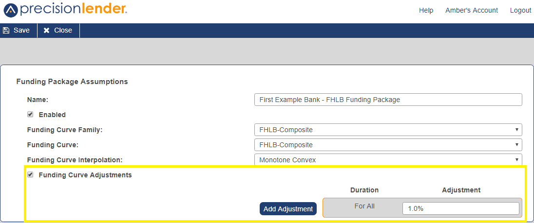Shows the Funding Curve Adjustments checkbox with the following option